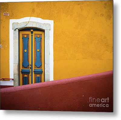 Blue And Yellow Door Metal Print by Inge Johnsson