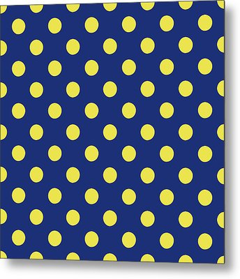 Blue And Yellow Polka Dots- Art By Linda Woods Metal Print by Linda Woods