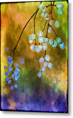 Blue Autumn Berries Metal Print