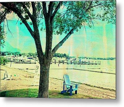 Blue Beach Chair Metal Print by Susan Stone