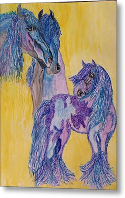 Metal Print featuring the painting Blue Beauties by Connie Valasco