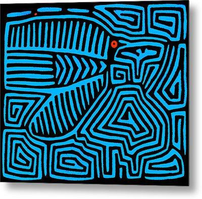 Metal Print featuring the digital art Blue Bird Mola by Vagabond Folk Art - Virginia Vivier