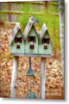 Blue Birds Castle Metal Print by Laura Brightwood