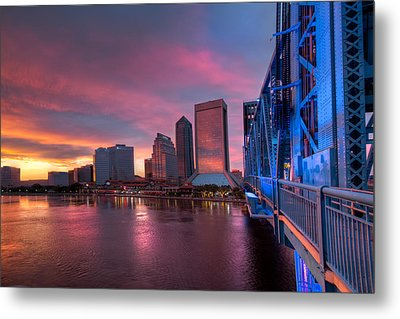Blue Bridge Red Sky Jacksonville Skyline Metal Print by Debra and Dave Vanderlaan