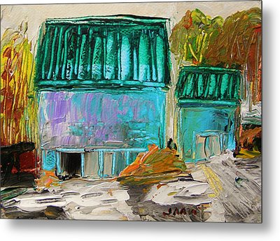 Blue Buildings Together-musing Metal Print by John Williams