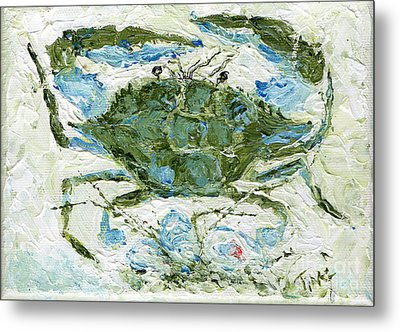 Blue Crab Knife Painting Metal Print