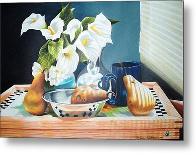 Blue Cup And Pear 3 Metal Print by Sylvester Hickmon