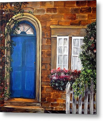 Metal Print featuring the painting Blue Door 2 by Anna-maria Dickinson