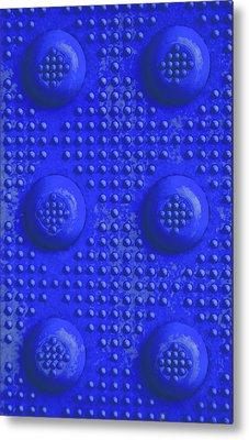 Blue Dots Industrial Portrait Metal Print