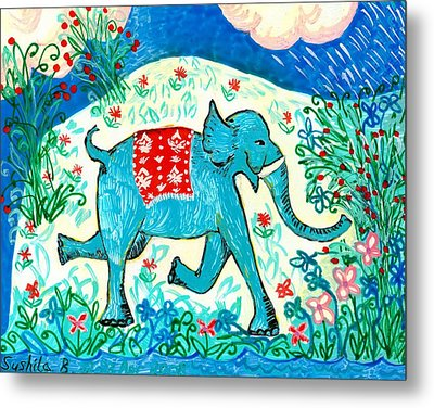 Blue Elephant Facing Right Metal Print