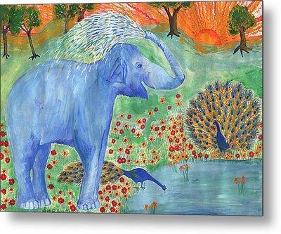 Blue Elephant Squirting Water Metal Print by Sushila Burgess