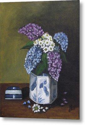 Blue Fish Vase Metal Print