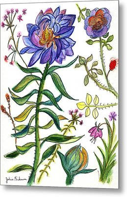 Blue Flowers 55 Metal Print by Julie Richman