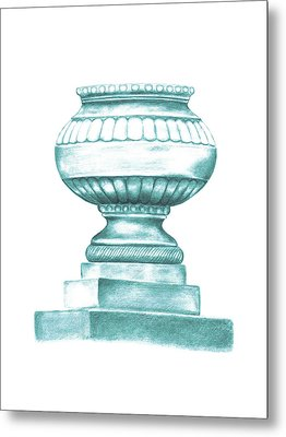 Metal Print featuring the digital art Blue Jardiniere  by Elizabeth Lock