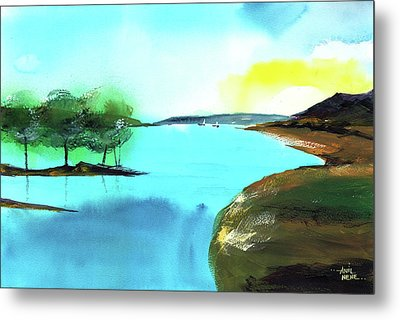 Metal Print featuring the painting Blue Lake by Anil Nene