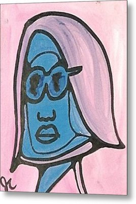 Blue Man With Glasses Metal Print by Jimmy King