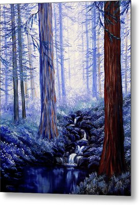 Blue Misty Morning In The Redwoods Metal Print