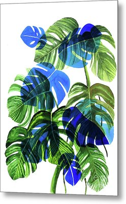 Blue Monstera Metal Print by Ana Martinez