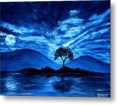 Blue Moon Metal Print by Wahleyah Black