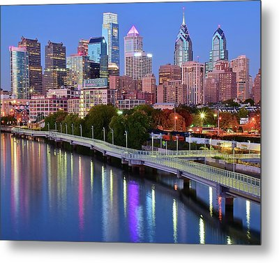 Blue Night Lights In Philly Metal Print