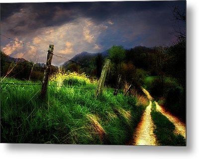 Blue Ridge Mountain Country Road Metal Print by Gray  Artus