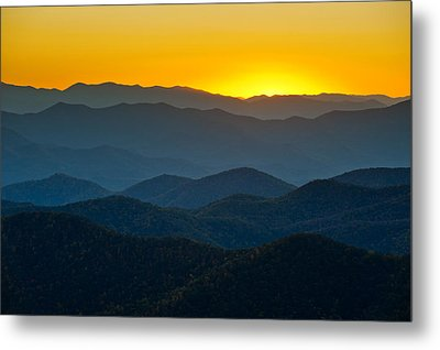 Blue Ridge Parkway Sunset Nc - Afterglow Metal Print by Dave Allen