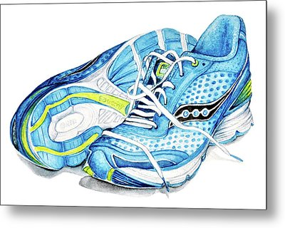 Blue Running Shoes Metal Print
