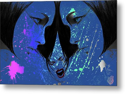 Metal Print featuring the digital art Blue Screamer by Greg Sharpe