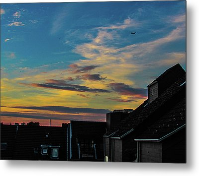 Blue Sky Colorful Sunset Metal Print by Cesar Vieira