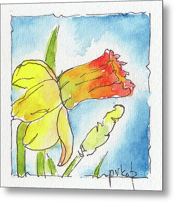 Metal Print featuring the painting Blue Sky Daffodils by Pat Katz