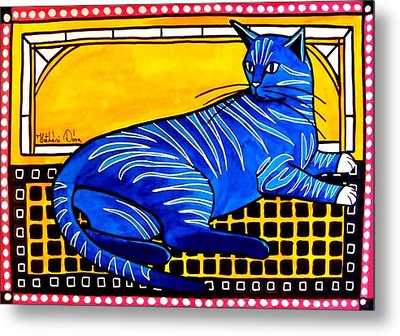 Blue Tabby - Cat Art By Dora Hathazi Mendes Metal Print by Dora Hathazi Mendes