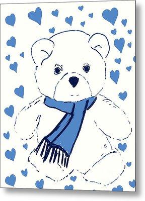 Blue Teddy Bear Love Metal Print