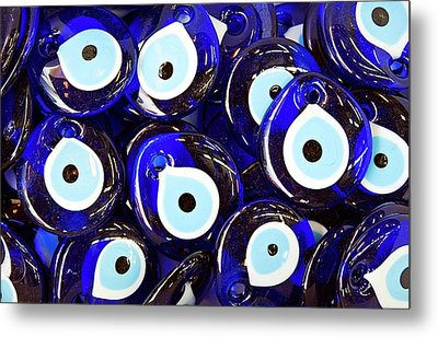 Blue Turkish Evil Eyes Metal Print by Paul Biris
