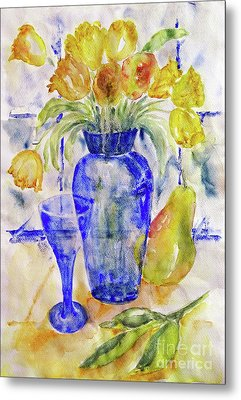 Metal Print featuring the painting Blue Vase by Jasna Dragun