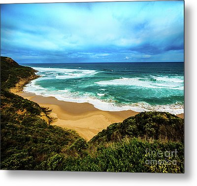 Metal Print featuring the photograph Blue Wave Beach by Perry Webster