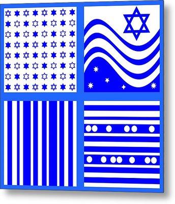 Blue White  Metal Print