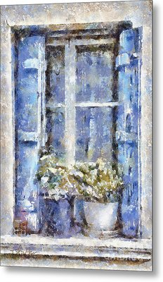 Blue Window Metal Print by Shirley Stalter