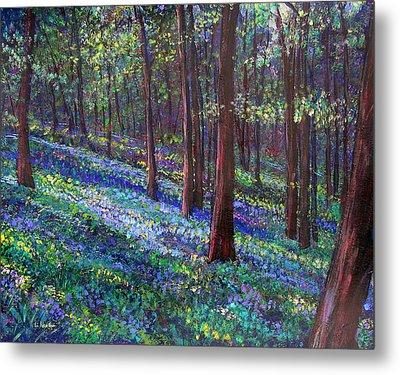 Bluebell Woods Metal Print by Li Newton