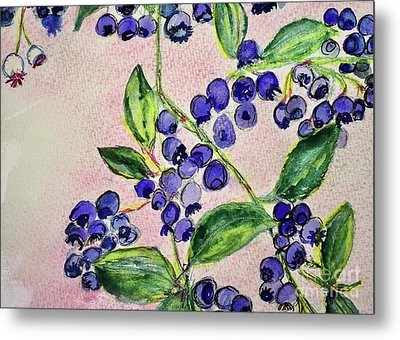 Metal Print featuring the painting Blueberries by Kim Nelson