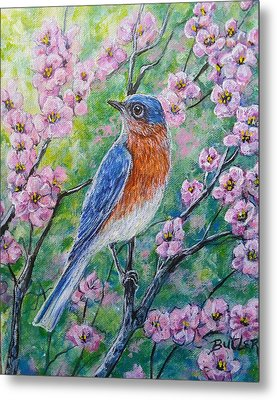 Bluebird And Blossoms Metal Print by Gail Butler