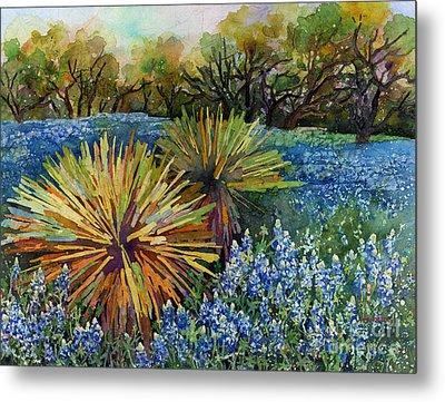 Bluebonnets And Yucca Metal Print by Hailey E Herrera