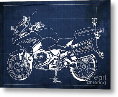 Bmw Rt1200 Police Blueprint Metal Print by Pablo Franchi