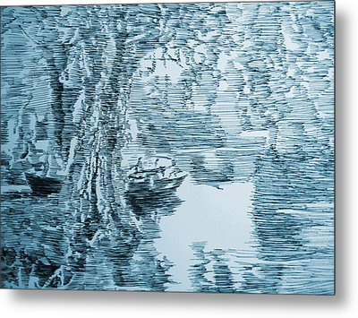Boat In Blue Metal Print by Robbi  Musser