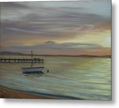 Boat On Bay Metal Print by Joan Swanson