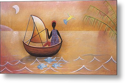 Boat With Blue Fish Metal Print by Sally Appleby
