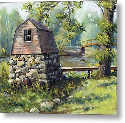 Boathouse And Battle Bridge Metal Print by Steven A Simpson
