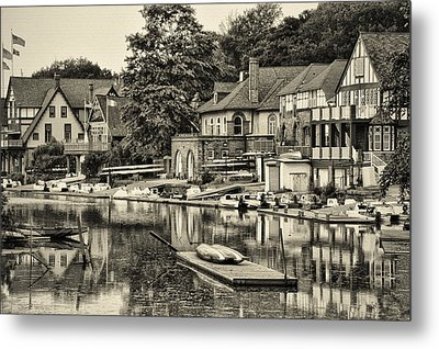 Boathouse Row In Sepia Metal Print