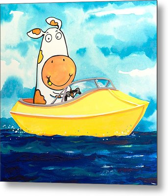 Boating Cow Metal Print