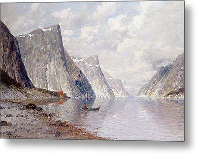 Boating On A Norwegian Fjord Metal Print by Johann II Jungblut