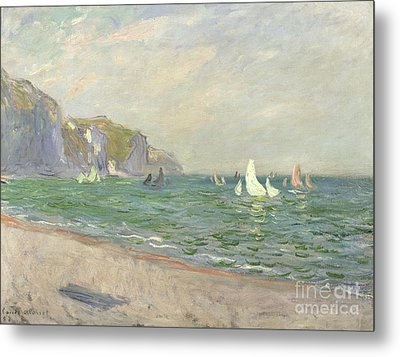 Boats Below The Cliffs At Pourville Metal Print by Claude Monet